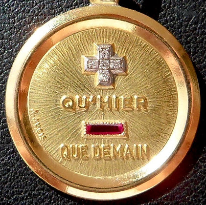 GORGEOUS FRENCH '+ QU'HIER - QUE DEMAIN ' THE 60S CHARM PENDANT, SIGNED AUGIS