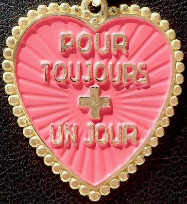 VINTAGE FRENCH ' POUR TOUJOURS + UN JOUR ' THE 70'S CHARM PENDANT