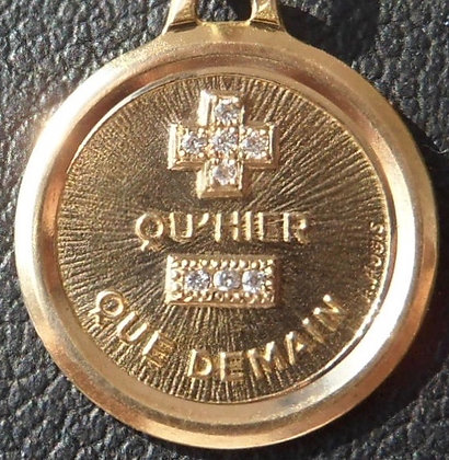 VINTAGE '+ QU'HIER - QUE DEMAIN ' THE 80'S CHARM PENDANT SIGNED A.AUGIS
