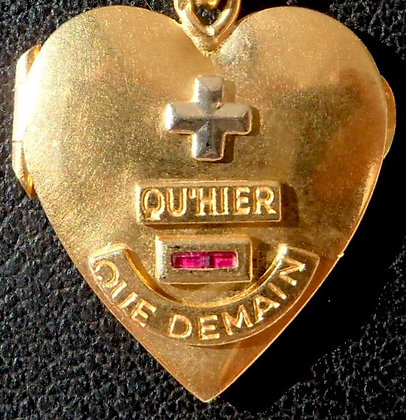 RARE VINTAGE '+ QU'HIER - QUE DEMAIN ' THE 40'S CHARM PENDANT SIGNED AUGIS