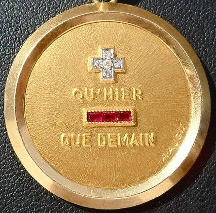 VINTAGE FRENCH ' + QH'HIER - QUE DEMAIN ' CHARM PENDANT, SIGNED AUGIS