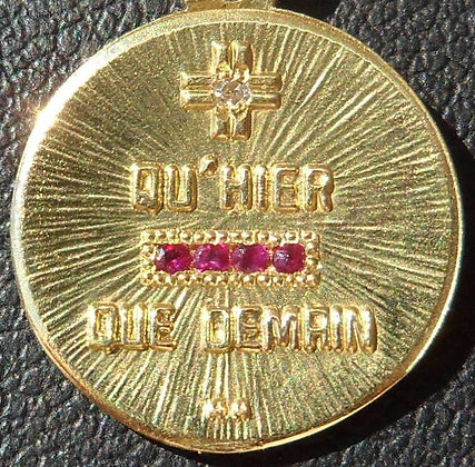 VINTAGE FRENCH '+ QU'HIER - QUE DEMAIN ' THE 50'S CHARM PENDANT SIGNED A