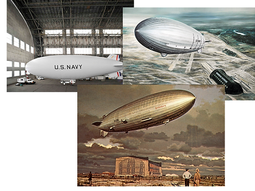 "Postcard set - USS Akron, The Navy's new MZ-3A & ""The Final Moments"" (3 each of"