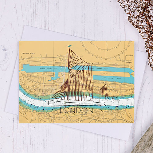 Thames Barge London Greetings Card - A6