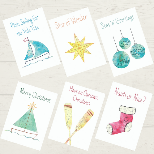 Vintage cut out set of 6 mixed Christmas Cards - A6