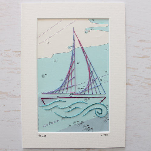 Limited Edition 5x7 Inch Sailing Boat 14/100