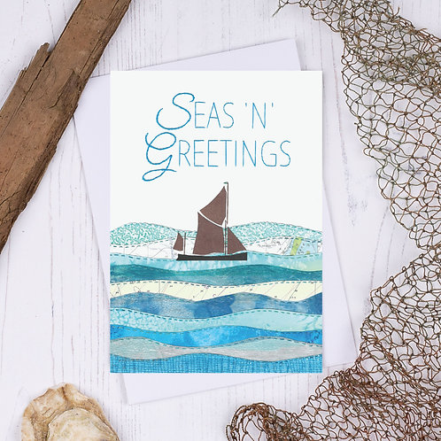 Sea N Greetings Thames Sailing Barge Christmas Card - A6