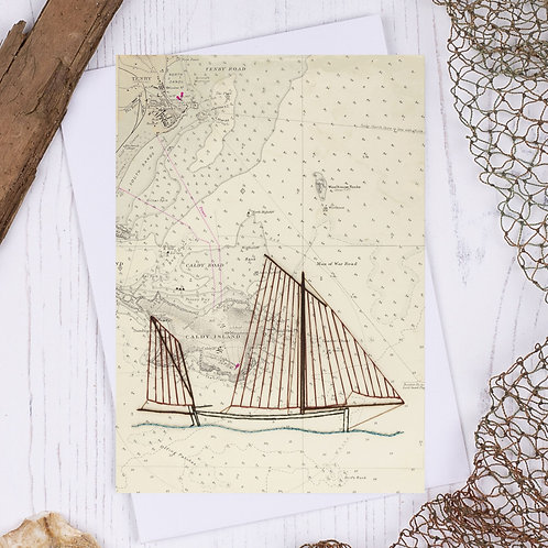 Tenby Lugger Greetings Card - A6