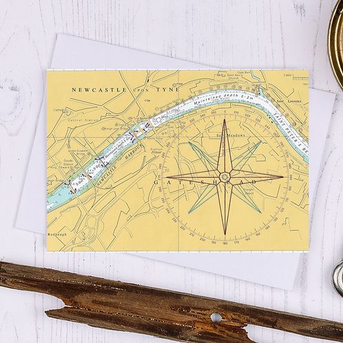 Newcastle Compass Greetings Card - A6