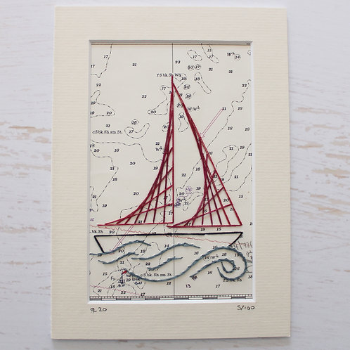 Limited Edition 5x7 Inch Sailing Boat 5/100