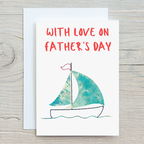 With love on Father's Day Greetings Card A5