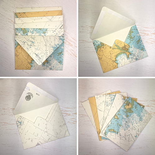 Handmade C6 envelopes, made from original nautical navigation charts, packs of 6