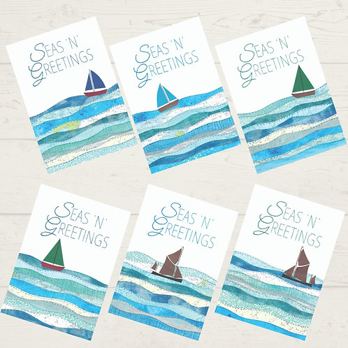 Seas N Greetings set of 6 mixed Christmas Cards - A6