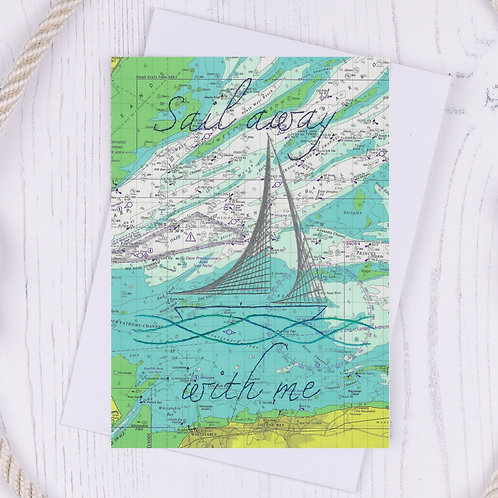 SALE - Sail away with me Greetings Card
