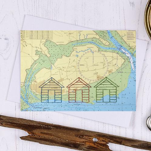 Mersea Island Beach Huts Greetings Card - A6