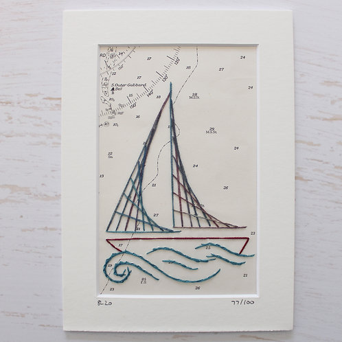 Limited Edition 5x7 Inch Sailing Boat 77/100