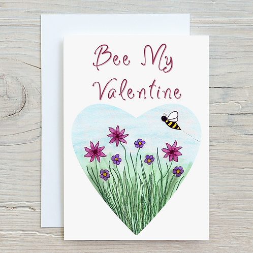 Bee My Valentine Card - Can be personalised A5