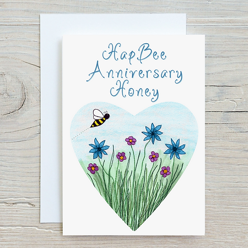 HapBee Anniversary Honey Card - Can be personalised A5