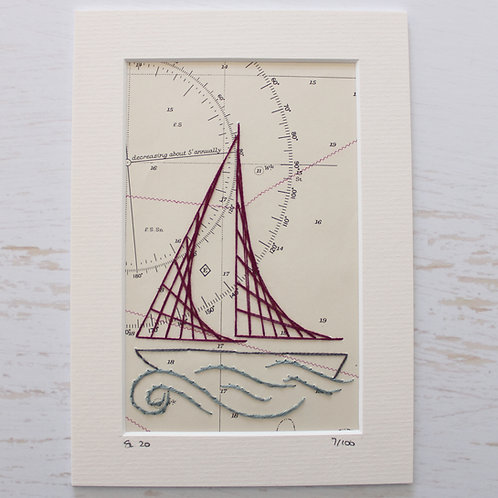 Limited Edition 5x7 Inch Sailing Boat 7/100