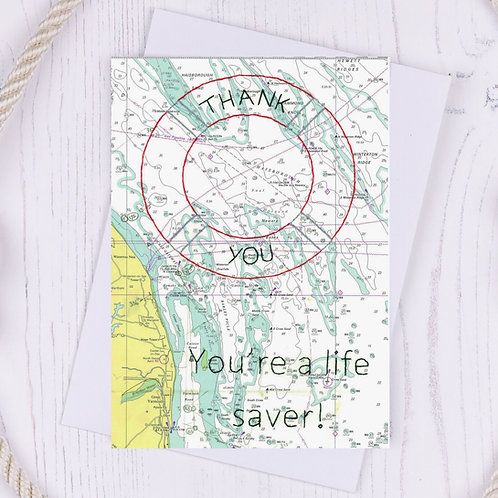 Thank You You're a Life Saver Greetings Card - A6