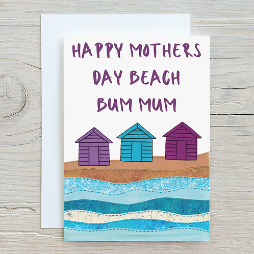 Happy Mothers day Beach Bum Mum  Greetings Card A5