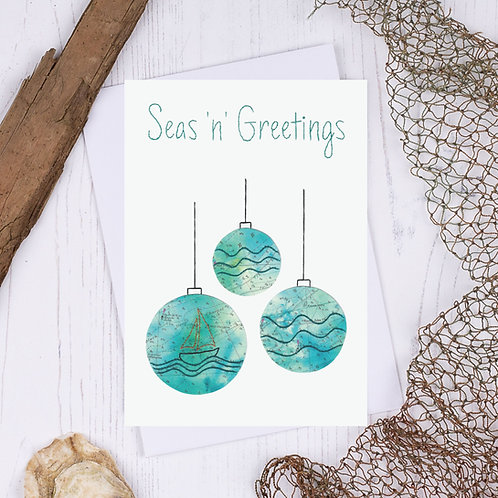 Seas N Greetings Baubles Christmas Card - A6