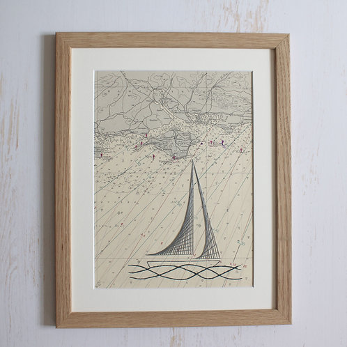 Vintage Isle of Wight Mounted Original 14x11 Unframed