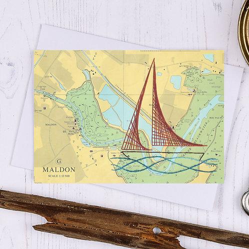 Maldon Sailing Boat Greetings Card
