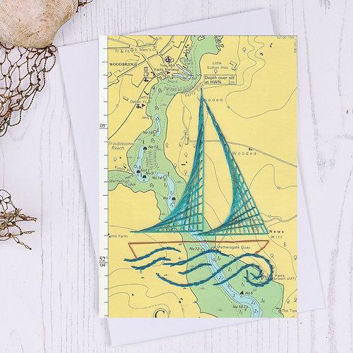 Woodbridge Sailing Boat Greetings Card