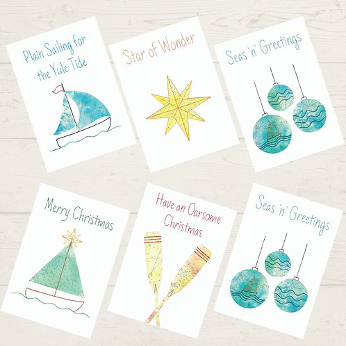 Vintage cut out set of 6 mixed Christmas Cards