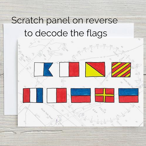 Ahoy There, Hidden Message Scratch Card, A5