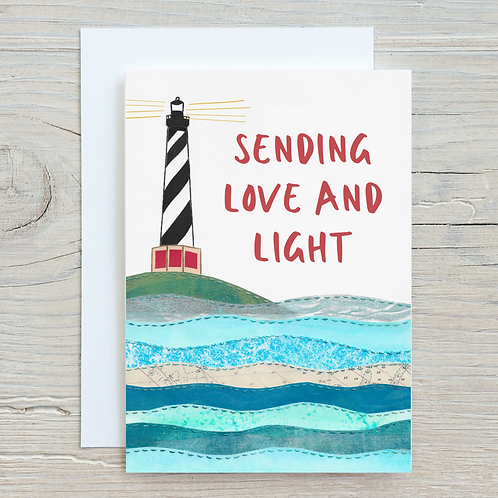 Sending Love and Light Card - Can be personalised A5