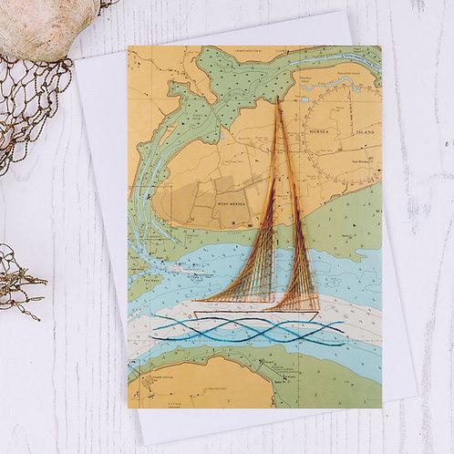 Mersea Island Sailing Boat Greetings Card
