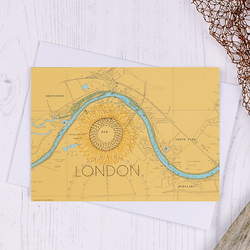 Sunflower London Greetings Card - A6