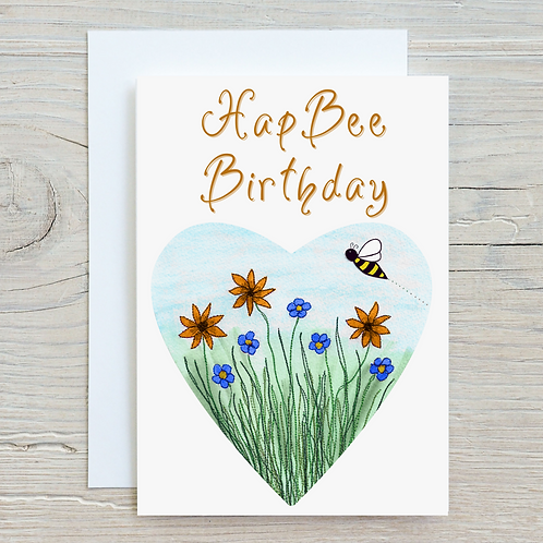 HapBee Birthday Card - Can be personalised A5