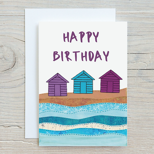 Happy Birthday Beach huts Card - Can be personalised A5