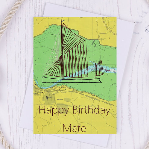 Happy Birthday Mate Greetings Card - A6