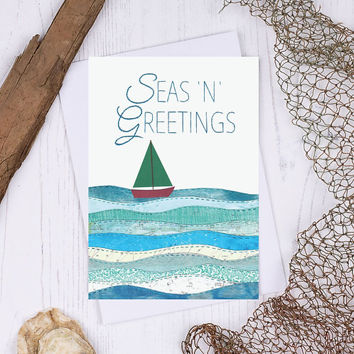 Sea N Greetings Christmas Tree Boat Christmas Card