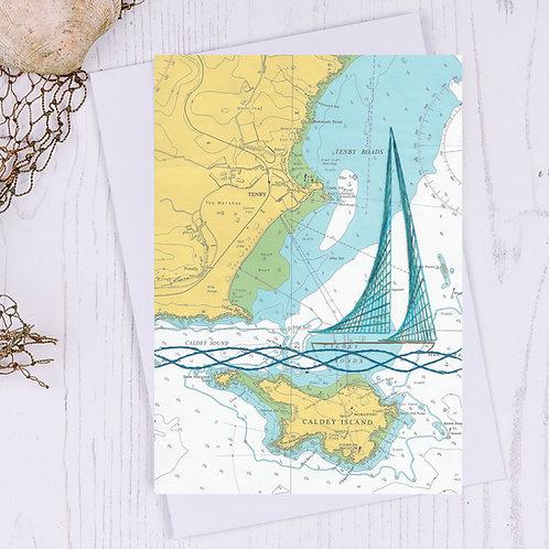 Tenby Sailing Boat Greetings Card - A6