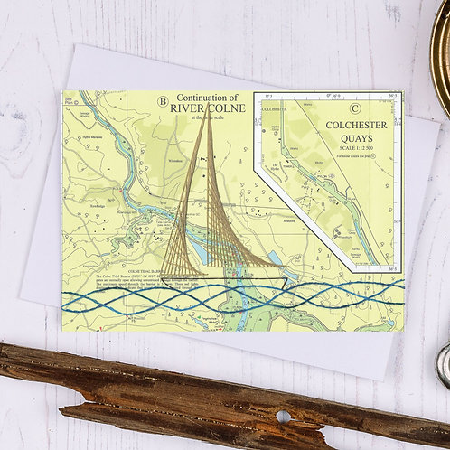 Colchester Wivenhoe Sailing Boat Greetings Card - A6