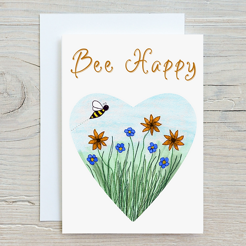 Bee Happy Card - Can be personalised A5
