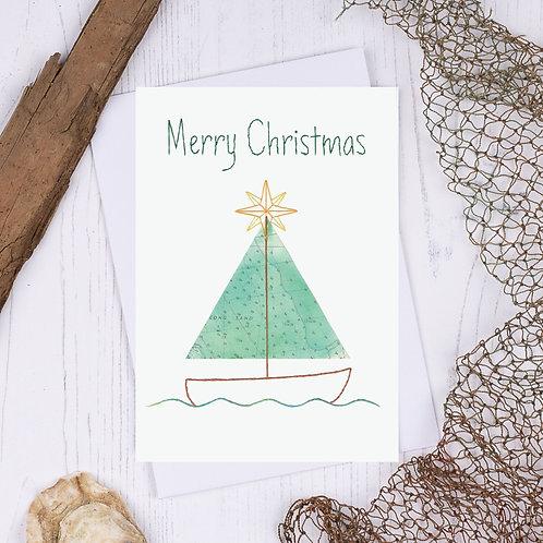 Merry Christmas - Christmas Tree Boat Christmas Card - A6