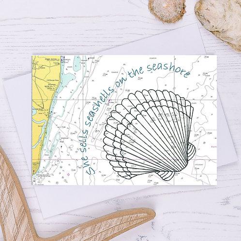 She Sells Seashells Greetings Card