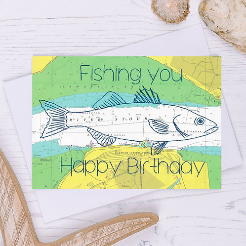 Fishing you Happy Birthday Greetings Card - A6