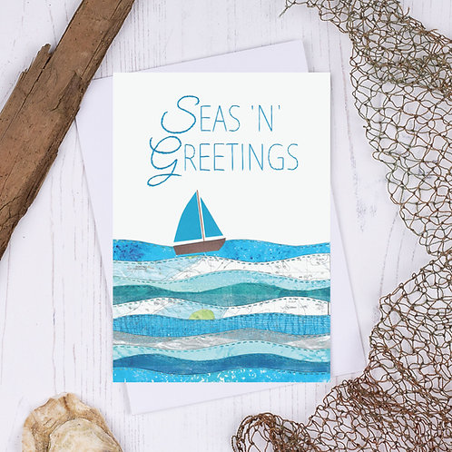 Sea N Greetings Turquoise Sailing Boat Christmas Card - A6