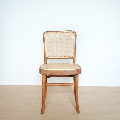 High-Backed Natural Frame Teak and Rattan Chair