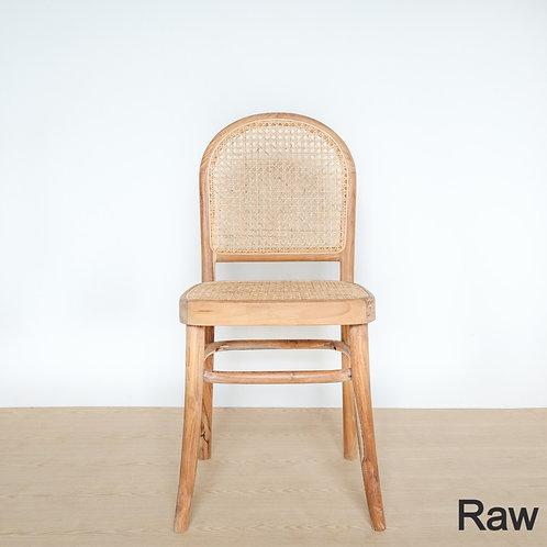Round Back Teak Frame Rattan Chair