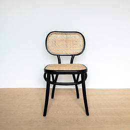 Black Framed Oval Backed Teak and Rattan Chair