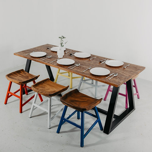Industrial Chic Dining Set with Butt Stools