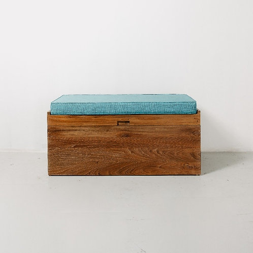 Natural Trunk Bench with Light Blue Seat